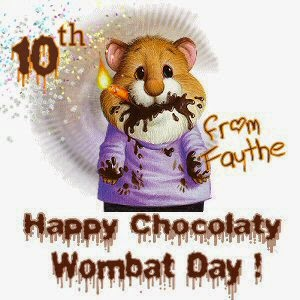 happy wombat day - mouse - cake covered face- chocolate - celebrate