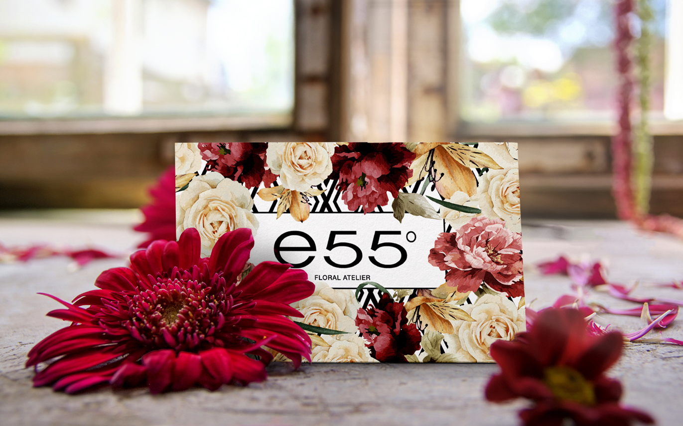 Businnes card, Floral arrangements, e55 degrees, Floral atelier design