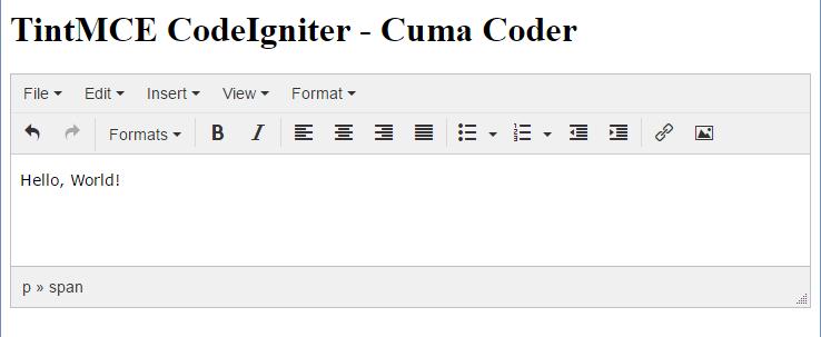 Hasil TinyMCE Pada CodeIgniter