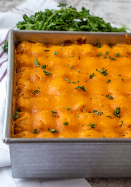 Chili Tater Tot Casserole by Served Up With Love - WEEKEND POTLUCK 461