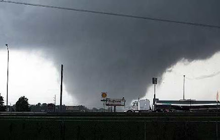 A tornado moves through Tuscaloosa, Ala