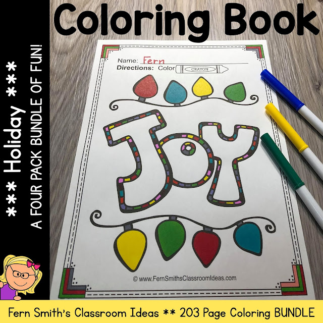 Holiday Coloring Pages, Halloween, Thanksgiving, Hanukkah, & Christmas - 203 Page Bundle