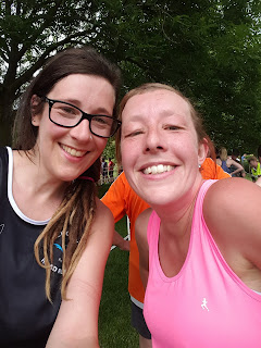 Sister running together at Park Run