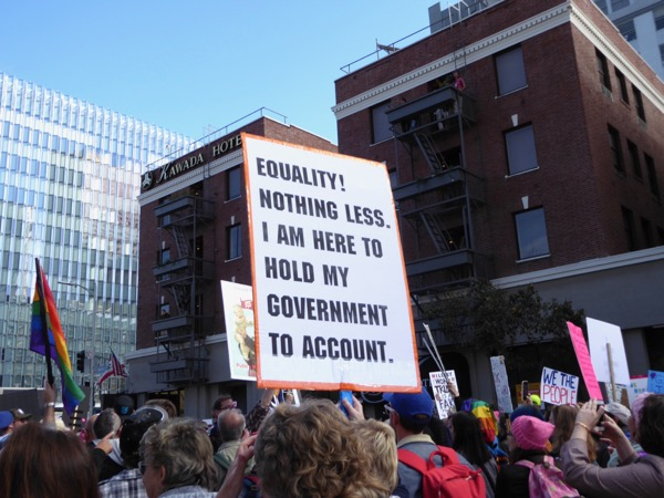 Womens March LA Equality Hold government to account sign
