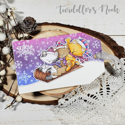 Amanda's card features Snowfall and Newton's Toboggan by Newton's Nook Designs; #newtonsnook