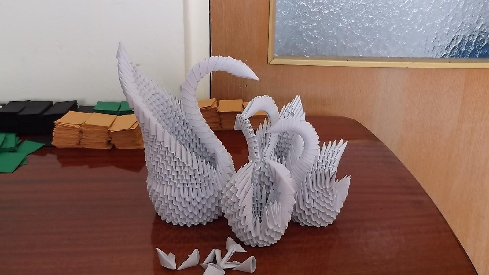 Razcapapercraft: 3D Origami swan family - photo#48