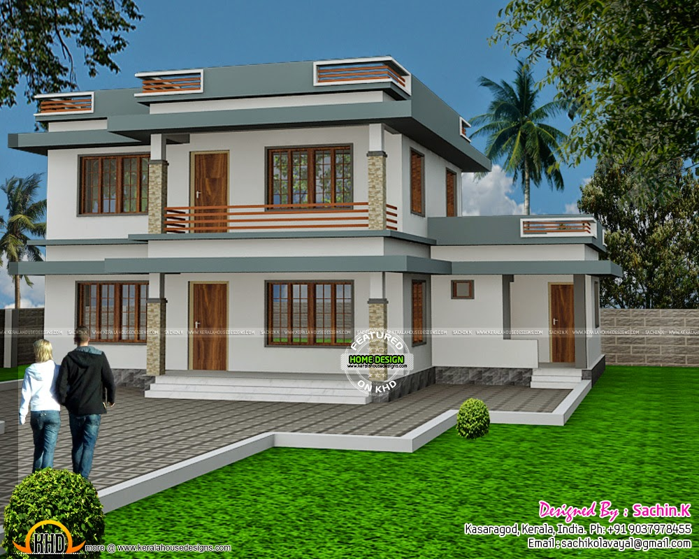 Flat roof house design by Sachin.K