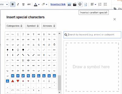 Come inserire caratteri speciali su blogger