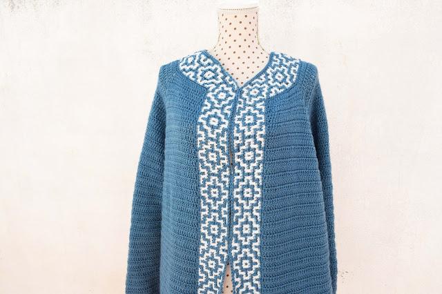 4 - Crochet Imagen Chaqueta azul a crochet y ganchillo por Majovel Crochet