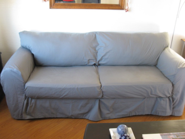 How to Make A Couch Slipcover From Sheets   Scribbles From Emily Couch After