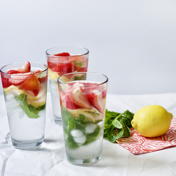 Strawberry, Mint, and Lemon Infused Water