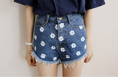 New Fashion Women's Casual High Waist Mini Print Jeans Slim Denim Shorts