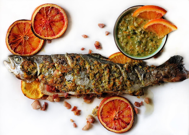 Bacon Stuffed Rainbow Trout with Orange Salsa