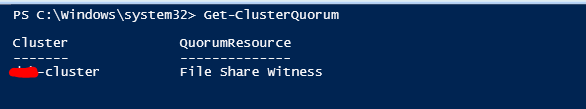 View Cluster Quorum Information - Get-ClusterQuorum PowerShell cmdlet