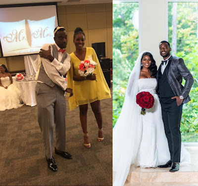 man and woman who caught bouquet and the garter at a wedding marry each other