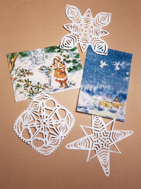 кружевные снежинки и открытки - декупаж по ткани