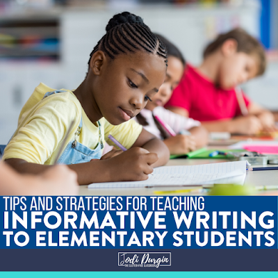 This Clutter-Free Classroom blog post suggests informative writing mini lesson ideas for 1st grade teachers to use when teaching a unit on informational writing. These elementary lessons are developmentally appropriate for first grade students and cover topics like writing an introduction, brainstorming ideas, transition words, writing conclusions, and using mentor texts. Read the post to learn more! #informativewriting #informationalwriting #explanatorywriting #elementarywritinglessons #firstgradeteacher #firstgradewriting