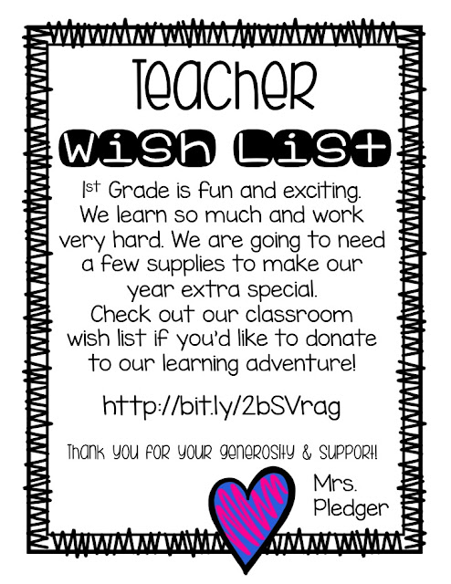 Teacher Wish List: Create an online classroom wish list so parents can donate supplies that you really want and need for your classroom!