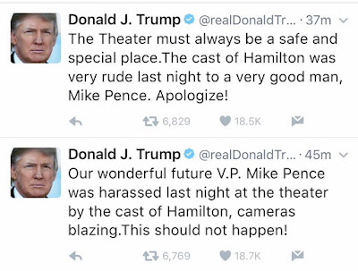 Image result for Donald Trump to Hamilton Cast: 'Apologize!'