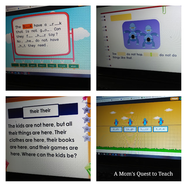 photographs of screen from Reading Kingdom showing different ways in which children are taught the words