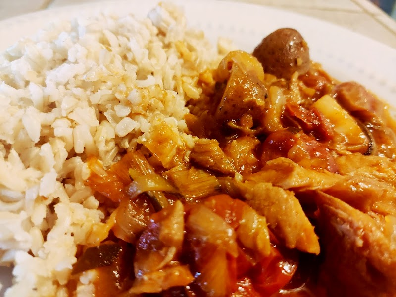 Clean eats salted Cod stew with brown rice - (Bacalao guisado)