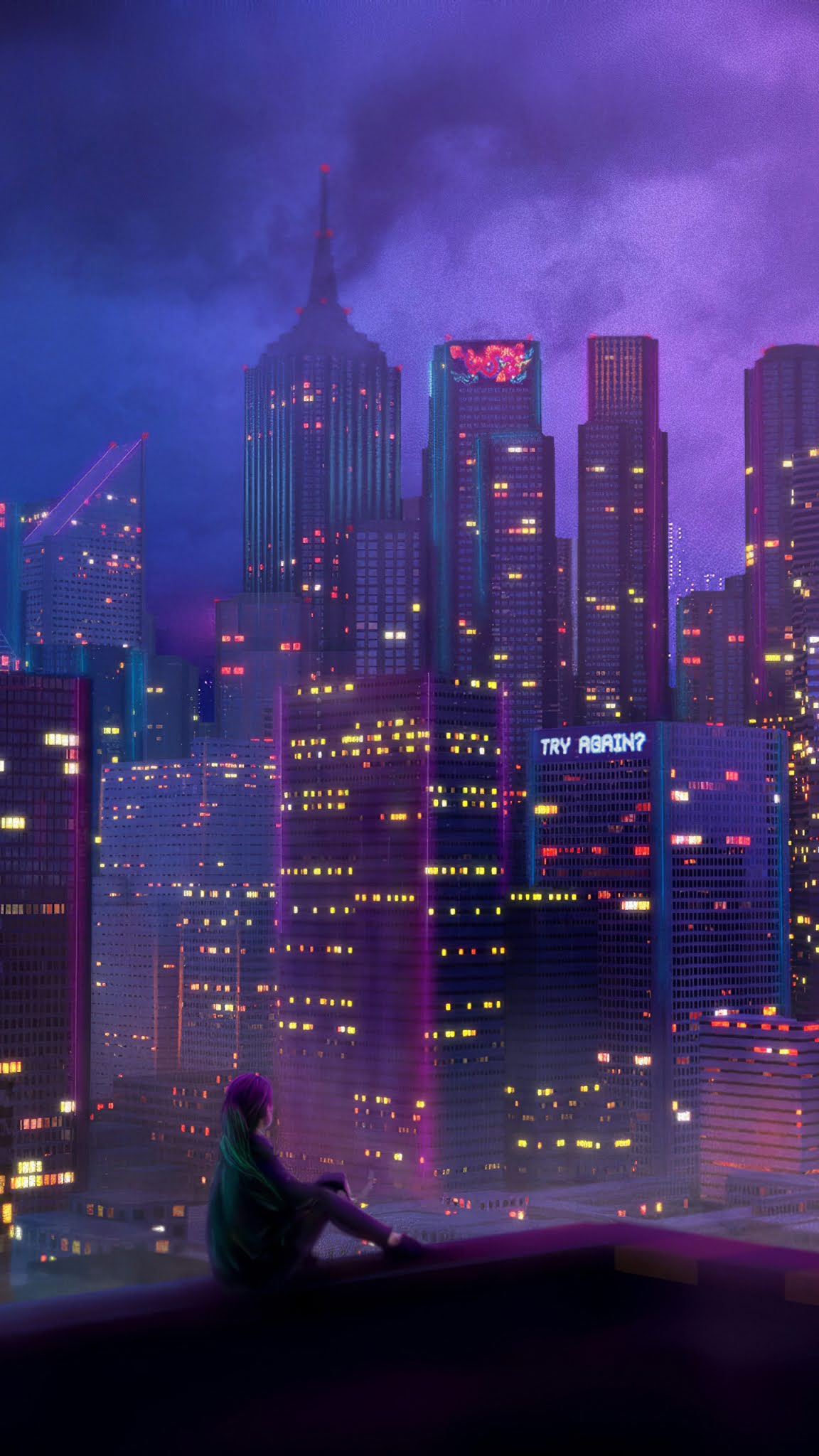 Alone Girl City lights 4k Wallpaper