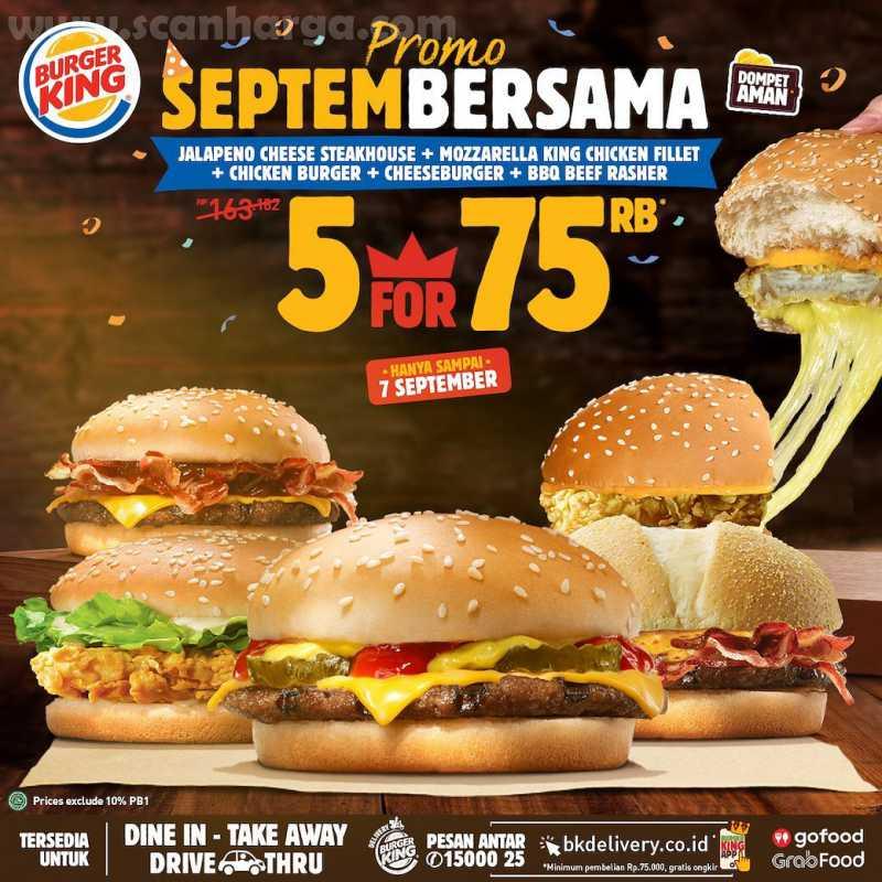 Burger King Promo 5 Burger Cuma 75Rb Periode 1 - 7 September 2020