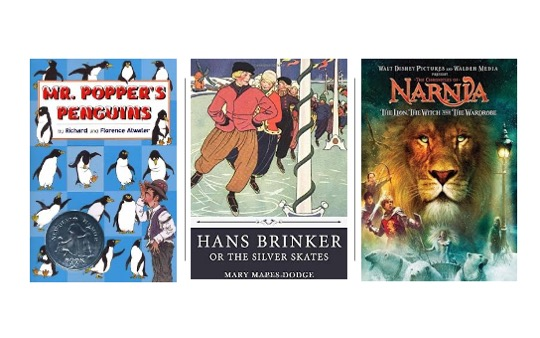 Image of Hans Brinker, The Lion the Witch and the Wardrobe, and Mr. Popper's Penguins in Pin image for 15 Winter Themed Novels for Upper Elementary