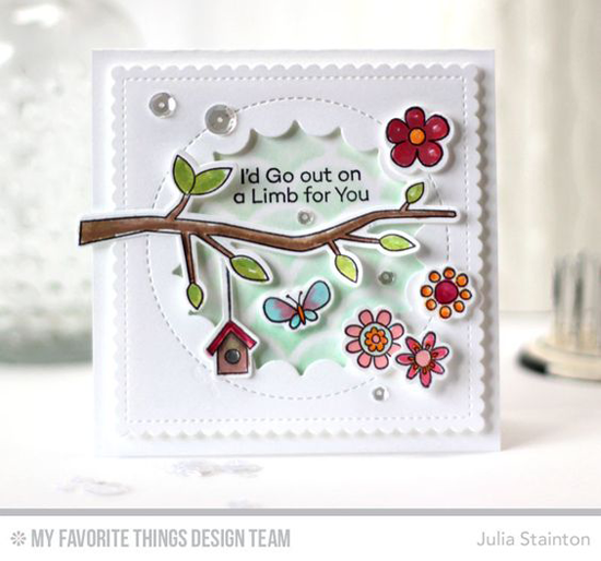 Out on a Limb Card by Julia Stainton featuring the I'm Tweet on You stamp set and Die-namics, the Jumbo Peek-a-Boo Circle Windows and Stitched Mini Scallop Square Die-namics, and the Cascading Scallop Stencil #mftstamps