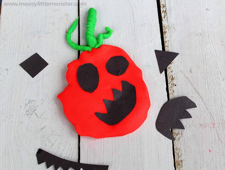 playdough pumpkin activity for kids