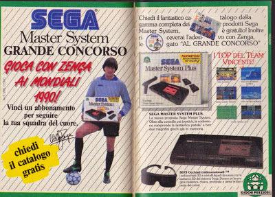 Il portiere dell'Inter Walter Zenga in una pubblicità del SEGA Master System