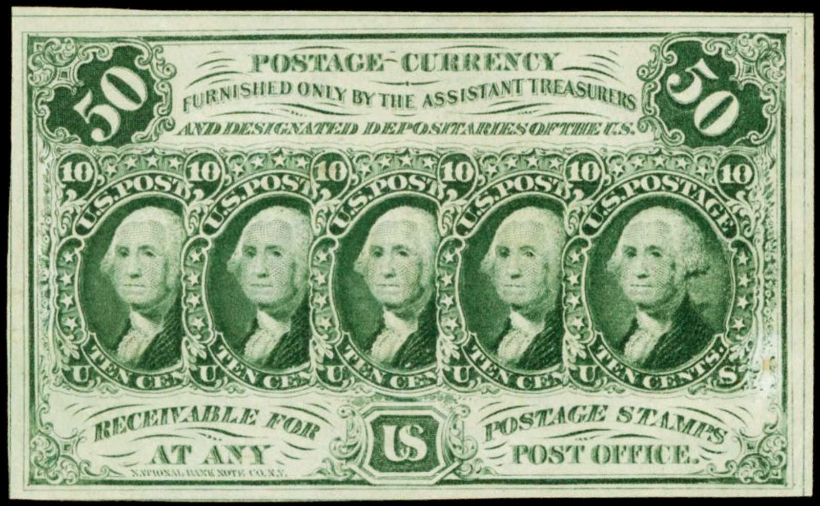 US Postage Currency Paper Money 50 Cents stamps