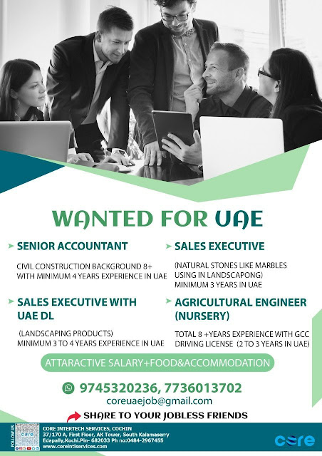 Accountant,Sales Executive, Agriculture Enginee,UAE Jobs, Core Intertech Services Kochi