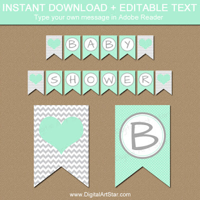mint baby shower decorations - mint green and gray banner printable