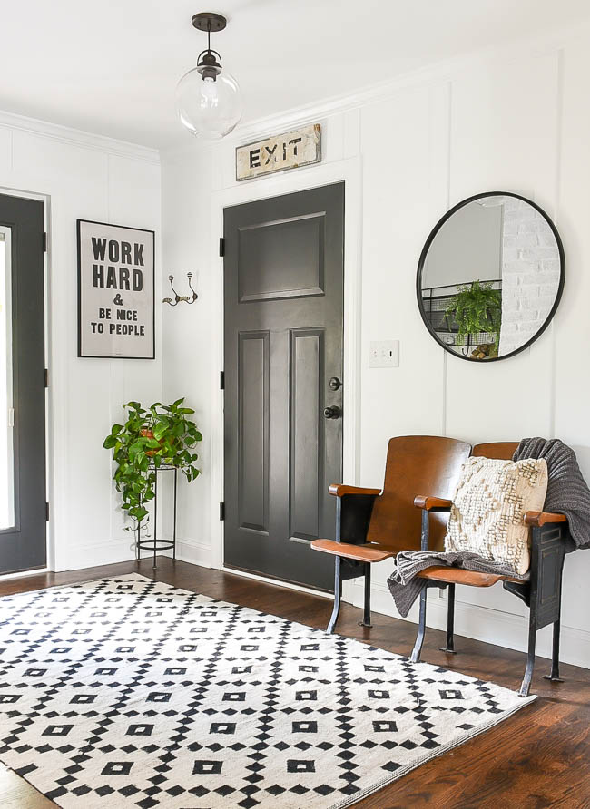 vintage modern mudroom decor for fall
