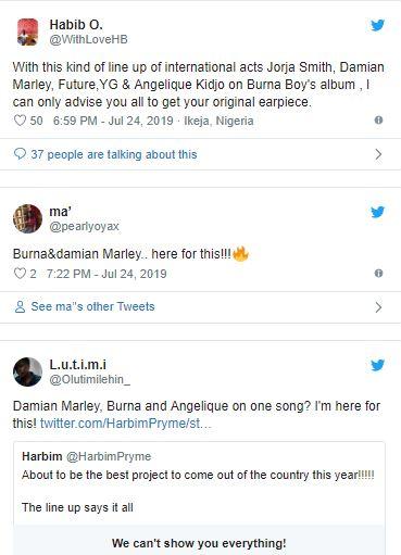 Nigerians React As Burna Boy Features Son Of Bob Marley In