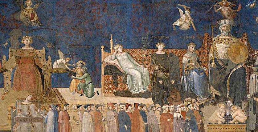Alegoria do Bom Governo, Ambrogio Lorenzetti, detalhe