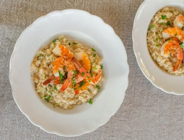 Parmesan Risotto with Roasted Shrimp #dinner #recipes