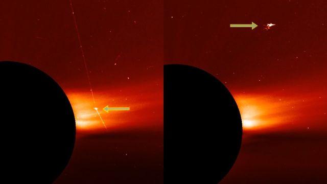 Spacecraft firing huge laser beam caught near the Sun Ufo-near-sun-nasa-lasco-c2