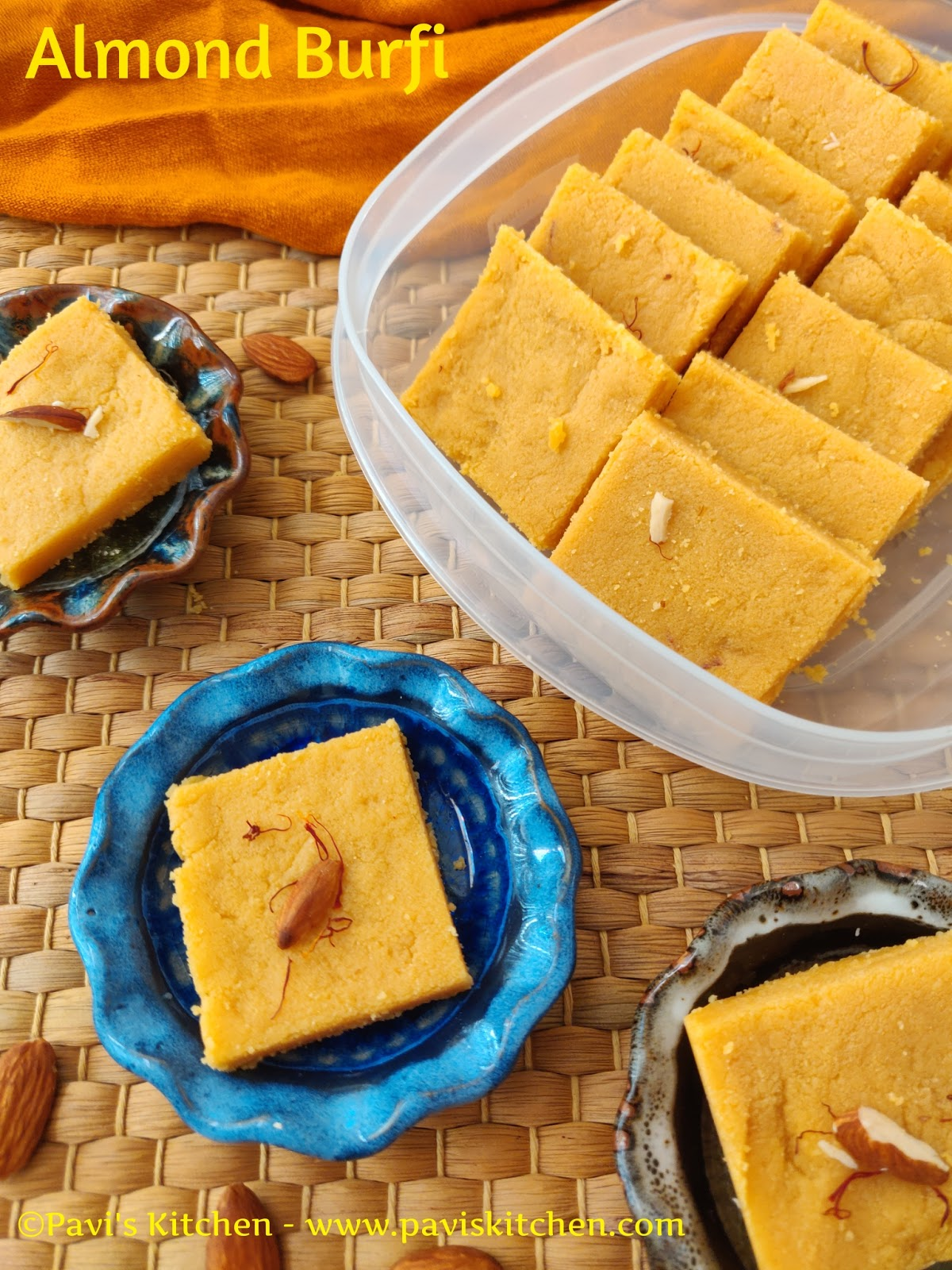 Almond Burfi Recipe | Kesar Badam Burfi Recipe | Almond with Saffron Burfi Recipe