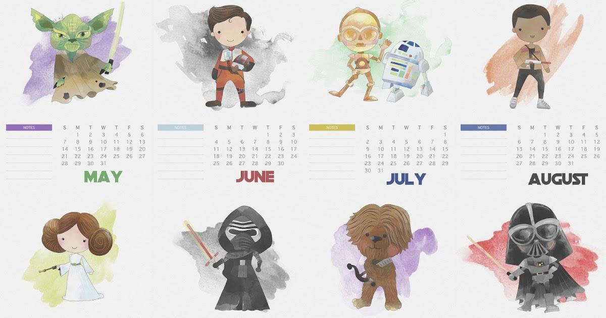 Free Printable 2017 Star Wars Calendar Oh My Fiesta