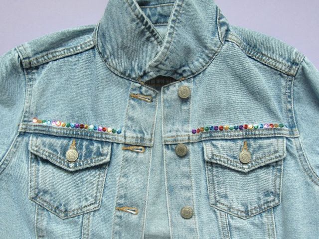 Adding rainbow sequins to a denim jacket