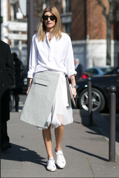 dressy skirt with sneakers