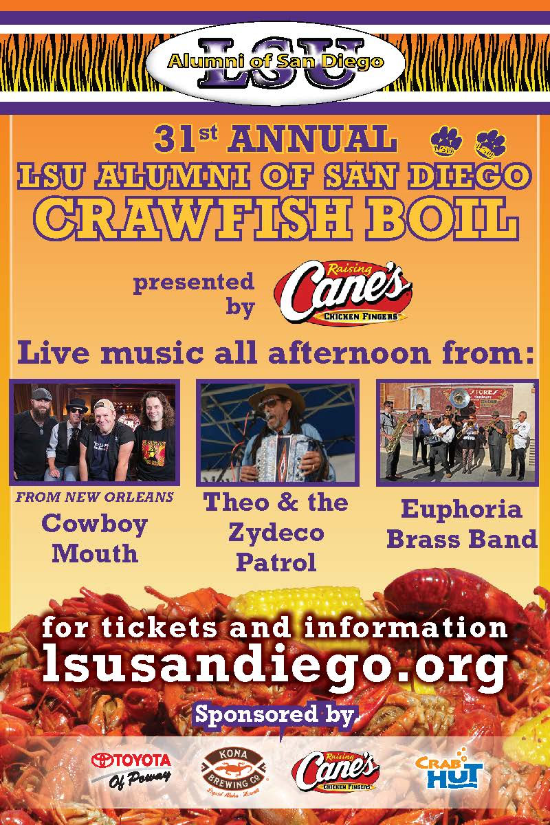 Promo codes SDVILLE and SDVILLETABLE save on tickets to the San Diego Crawfish Boil - May 26!