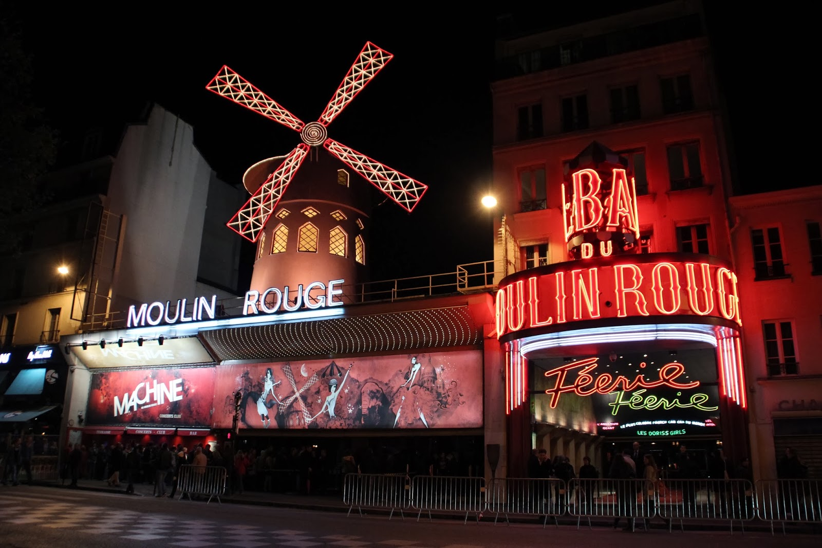 Moulin Rouge at Night in Pigalle Paris