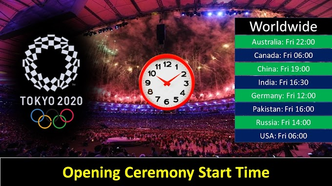 Tokyo Olympics 2021 Opening Ceremony Start Time (Worldwide)