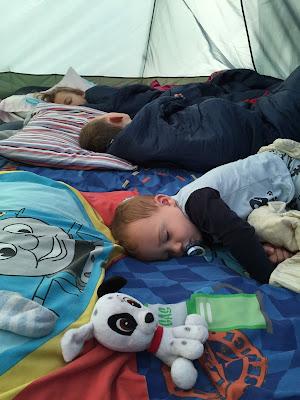 Sleeping children in tent