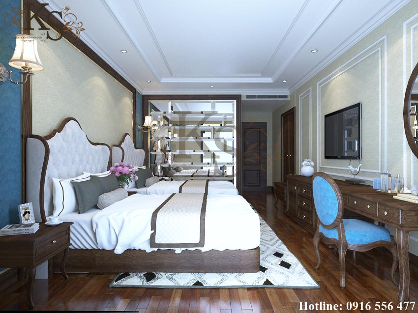 Hình ảnh: Thiết kế nội thất phòng ngủ khách sạn sử dụng thảm trải sàn có tone màu tương phản với sàn gỗ tạo sự nổi bật.