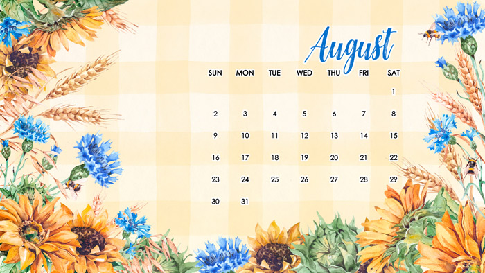 August Calendar for Computer Wallpaper