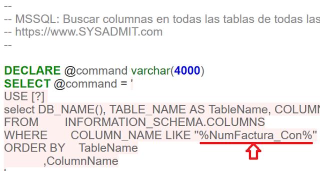 MSSQL: Buscar columnas en todas las tablas